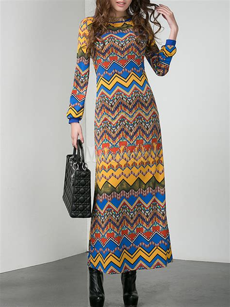 Dress Zigzag Ab zigzag pattern maxi dress milanoo