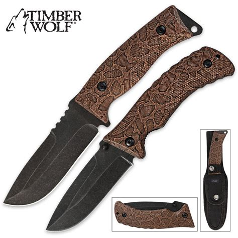 tactical knife sets timber wolf snakeskin two tactical knife set