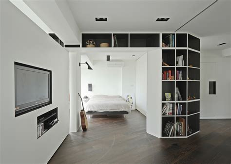bedroom partitions resident tsao apartment with rotating walls by kc studio