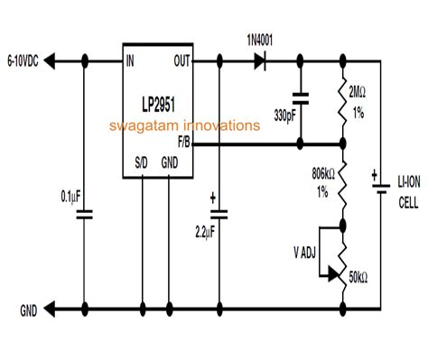 lithium battery charger schematic li ion battery charger circuit using ic lp2951 circuit
