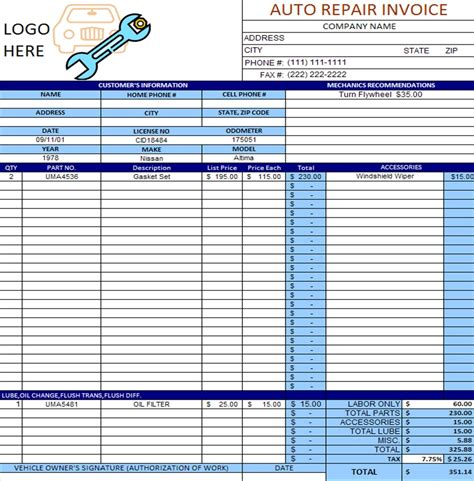 invoice samples repair invoices template free word shop car mechanic