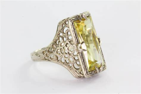 antique deco 14k white gold yellow sapphire ring for