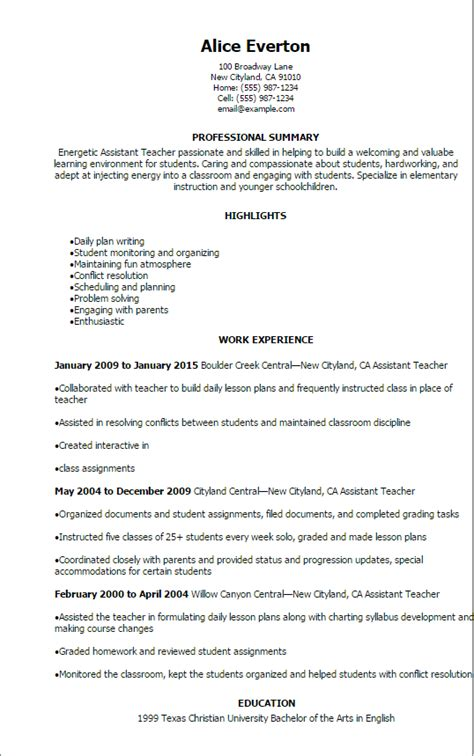 1 assistant teacher resume templates try them now