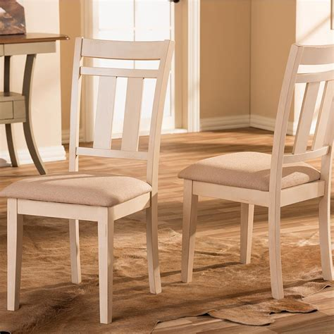 Baxton Studio Roseberry Beige Fabric And Distressed Wood Distressed Wood Dining Chairs