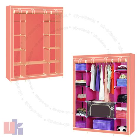 new pink portable canvas wardrobe with