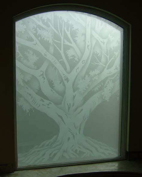 glass designs oak tree glass window etched glass rustic design
