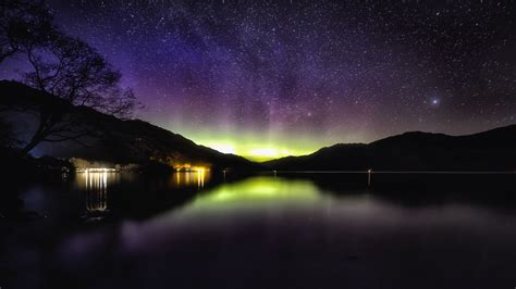 wallpaper  aurora starry sky night