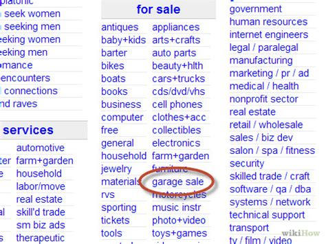 Craigslist Garage Sales how to advertise a garage sale on craigslist 13 steps