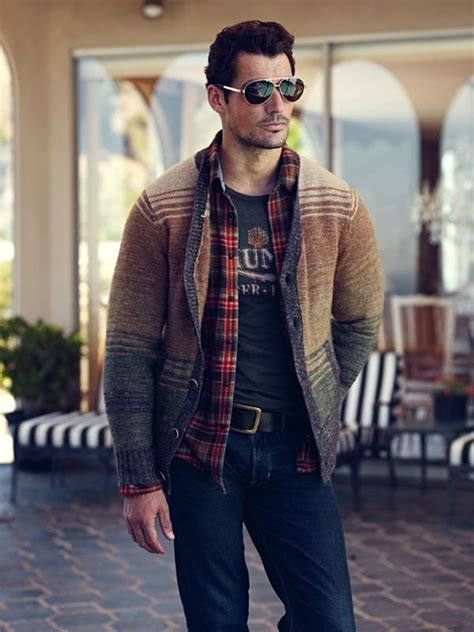 Casual Trend Alert Plaid Shirts Andjeans by David Gandy In Lucky Brand Layering Of Sweater Flannel