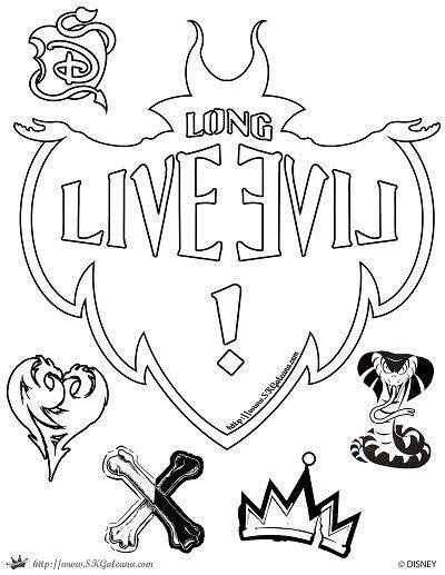 free coloring pages disney descendants descendants coloring page long live evil disney channel