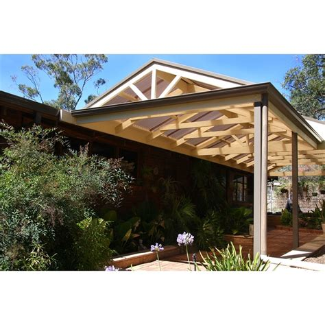 Design Ideas For Suntuf Roofing Softwoods 3 0 X 2 4m Pre Cut Gable Attached Colorbond Roof Pergola Kit
