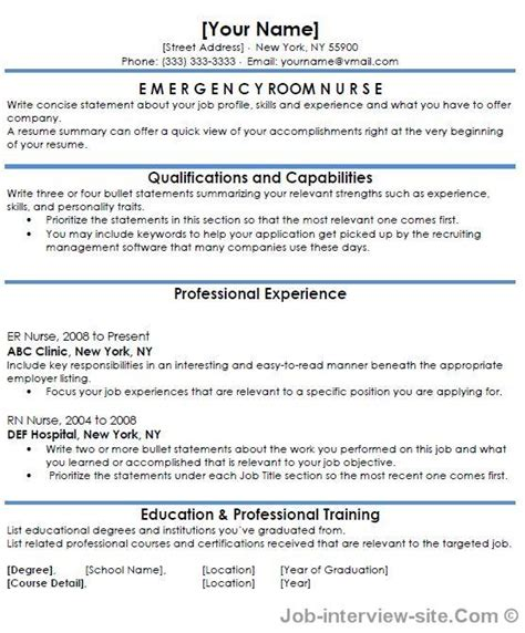 Emergency Room Resume Skills Free 40 Top Professional Resume Templates