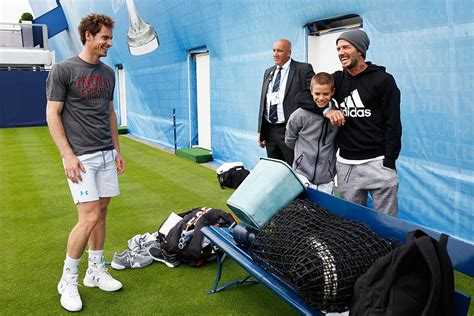 romeo beckham where does he live andy murray plays tennis at queen s with david beckham s