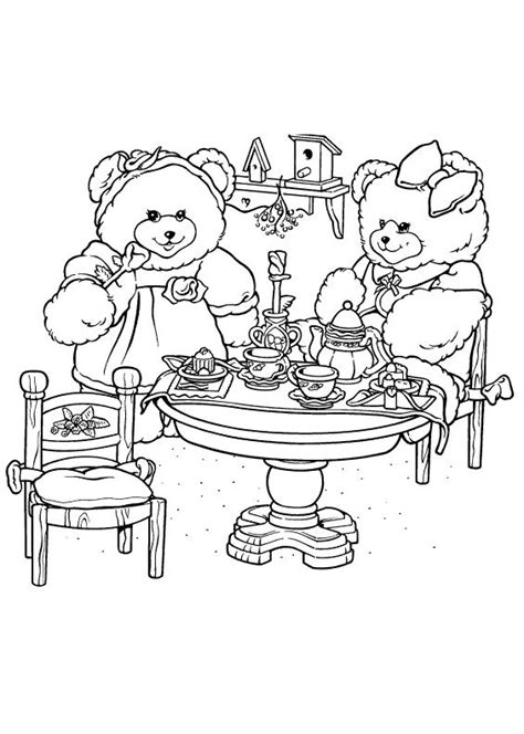 bear tea party coloring pages free bear tea party coloring