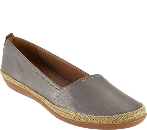 qvc clarks shoes quot as is quot clarks leather espadrille slip on shoes danelly