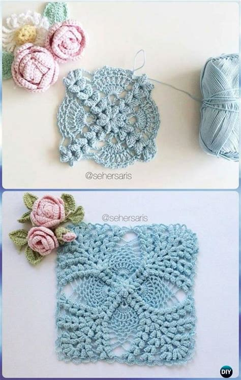 Crochet Motif Patterns Images crochet pearl flower popcorn square motif free patterns