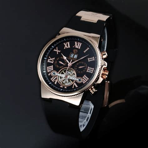 no battery automatic mechanical tourbillon wristwatch