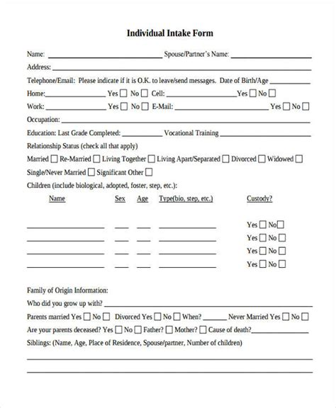 therapy intake form template counseling intake form template 28 images 17 best