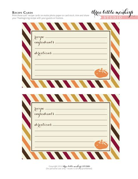 Free Thanksgiving Printables From Three Little Monkeys Studio Catch My Party Recipe Label Templates