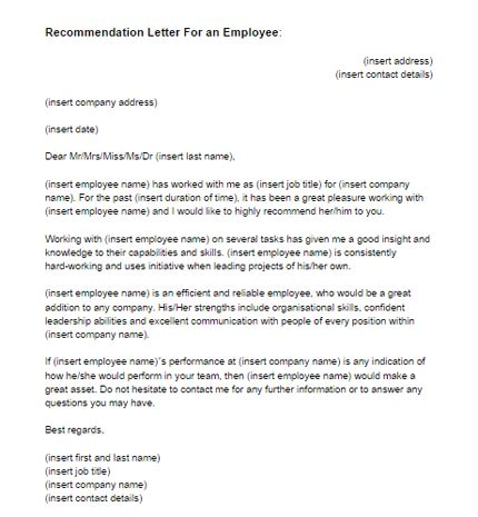 Recommendation Letter For An Employee Sle Just Letter Templates Letter Of Recommendation Template For Employee