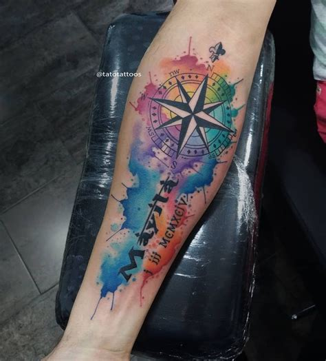 watercolor compass tattoo best 25 watercolor compass ideas on