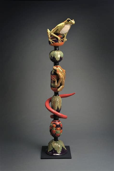 hand crafted frog totem pole ii   pot shop