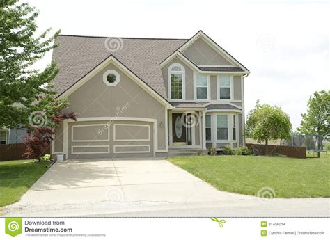 small 2 car garage homes cute modern two story house with stucco stock photo image