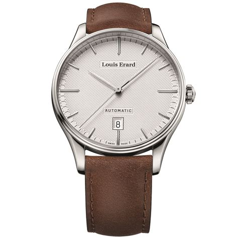 louis erard louis erard men s leather band steel case automatic watch
