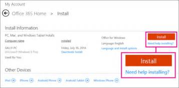 reinstall office and install office 365 home personal or