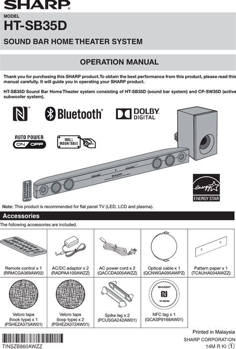 Sharp Sound Bar Ht Sb35d htsb35d sound bar home theatre system user manual s