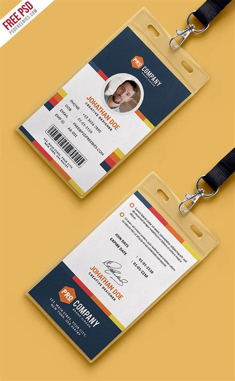 Corporate Id Card Template Psd Free by Creative Office Identity Card Template Psd Psdfreebies