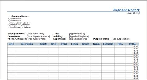 expense report template expenditure report template microsoft excel templates