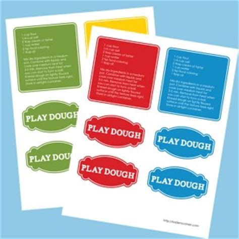 printable playdough recipes printable play dough tags recipe