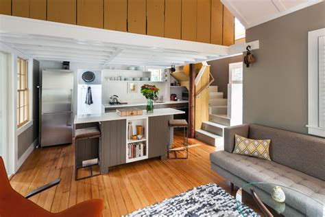 small loft apartment open kitchen chic sisal rug in living room modern with winder stairs