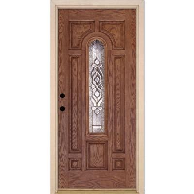 Fiberglass Exterior Doors Home Depot Feather River Doors 37 5 In X 81 625 In Lakewood Brass Center Arch Lite Stained Medium Oak