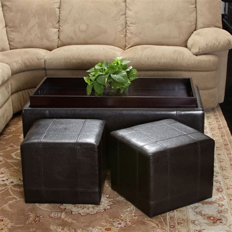 Living Room With Ottoman five espresso brown leather ottoman set set of 3 modern living room los angeles