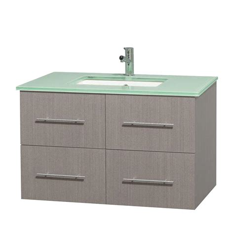 Green Vanity Top by Wyndham Collection Centra 36 In Vanity In Gray Oak With