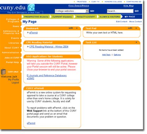 faculty cuny portal instructions page