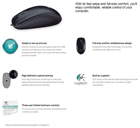 Logitech Mouse Optical M100r logitech m100r ambidextrous optical mouse pc byte