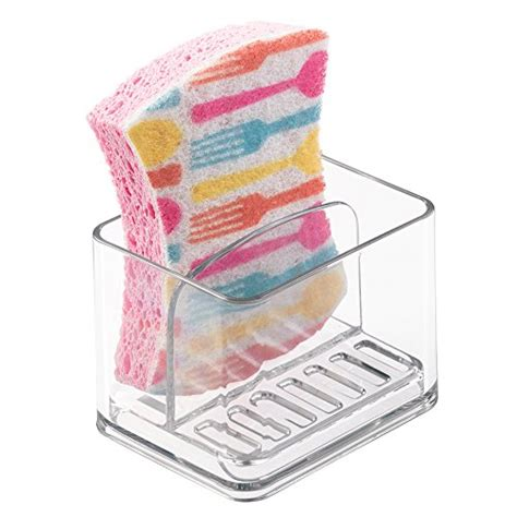 mdesign scrubber soap and sponge holder for kitchen sink