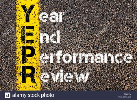 sle of year end performance review concept image of business acronym yepr year end