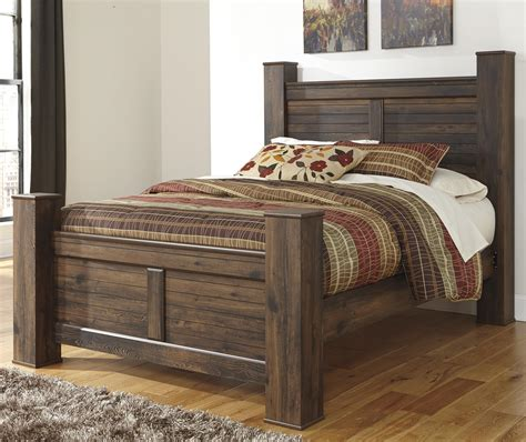 queen poster bed signature design by ashley quinden rustic queen poster bed