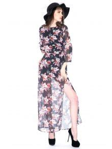3 4 Sleeve Slit Side Dress floral print 3 4 sleeve side slit dress black print