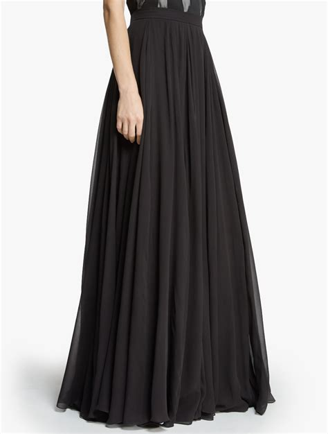 flowy georgette maxi skirt in black lyst