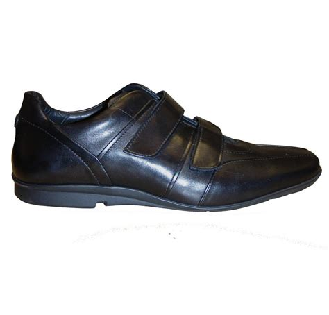 hugo shoes hugo black leather velcro shoe footwear from
