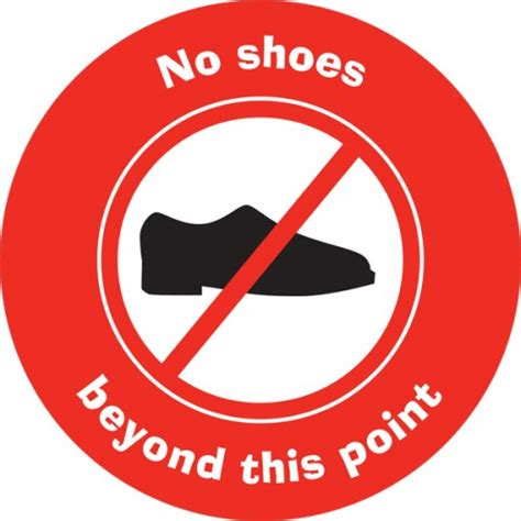 with no shoes no shoes beyond this point circular sign school signs