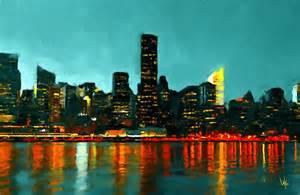Nyc Duvet New York City New York Skyline Painting Nyc Painting