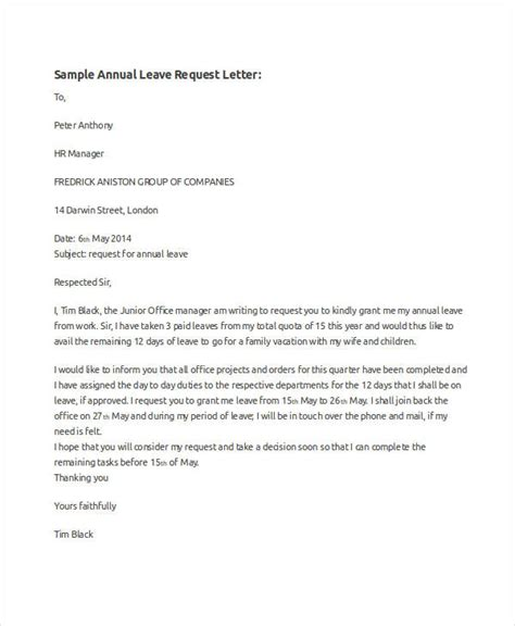 Annual Leave Payment Request Letter how to write a letter requesting for annual leave cover