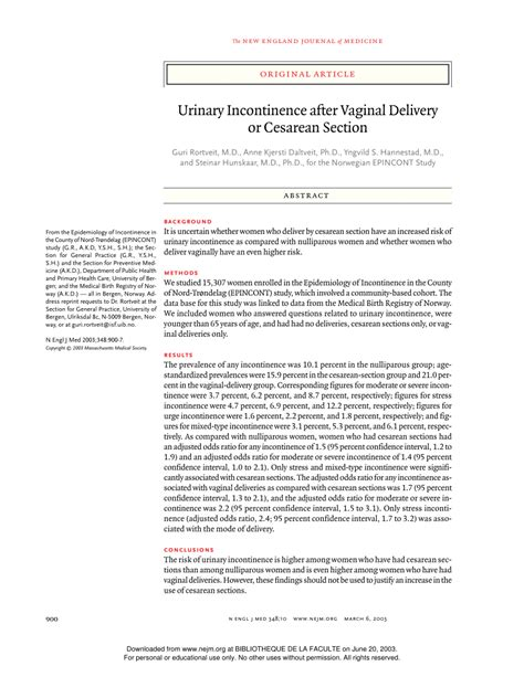 urinary incontinence after c section hunskaar s norwegian epincont study urinary incontinence