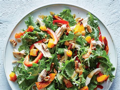dinner salads baby kale butternut and chicken salad top